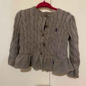 Ralph Lauren gray cable knit cardigan 12 months